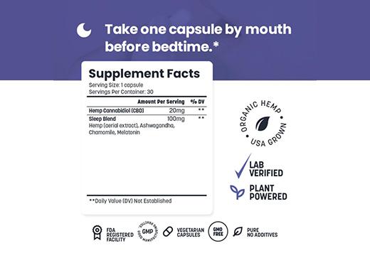 CBD Capsules, Simple Leaf CBD, Sleep Support